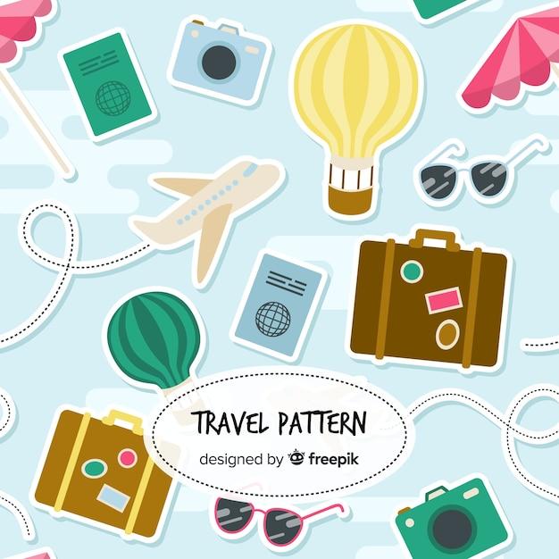 Travel pattern Free Vector