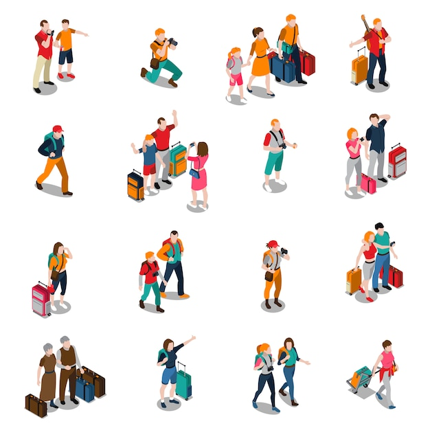 Travel people isometric icons Free Vector