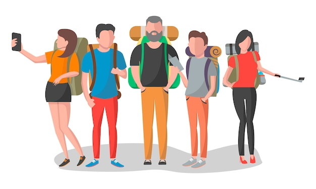 Travel people with backpack set in flat design Premium Vector