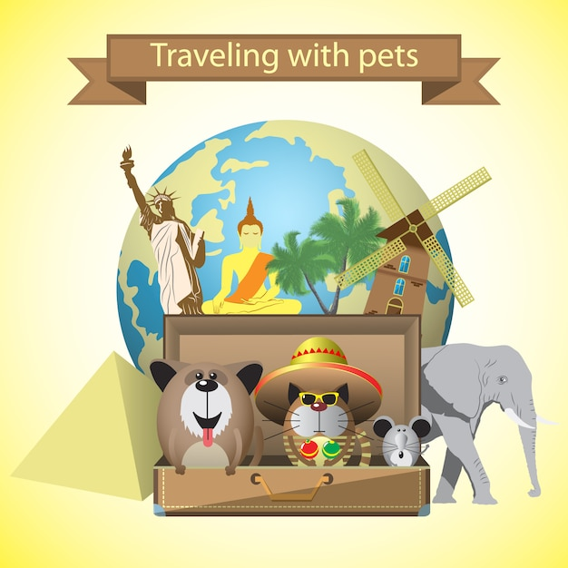 Travel pets. with pets,suitcase and world landmarks background Premium Vector