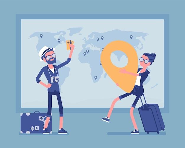 지도 그림에서 여행 계획 프리미엄 벡터