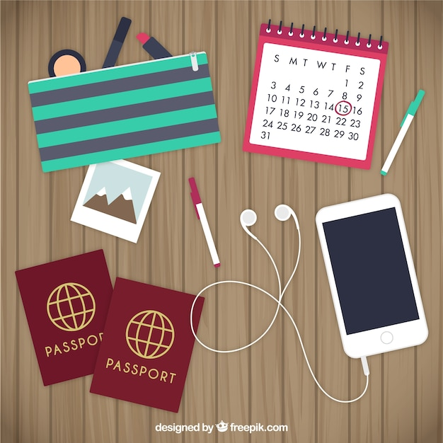 Travel planning elements Free Vector