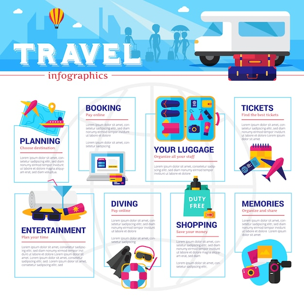Travel planning organizing and spending infographics Free Vector