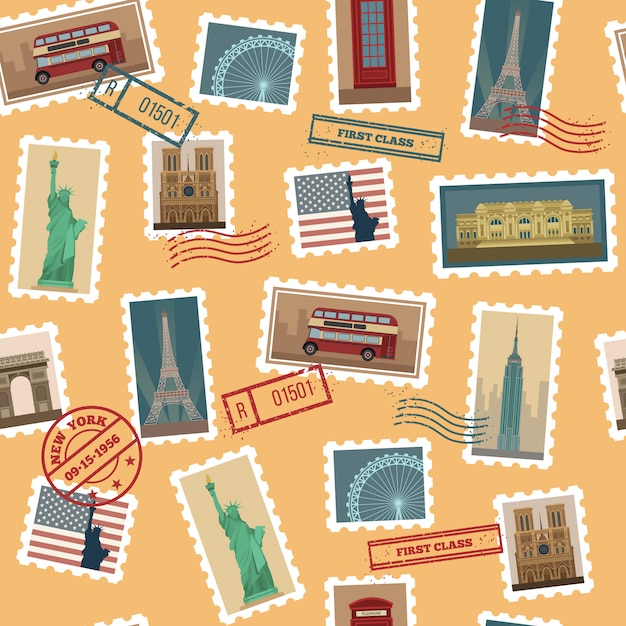 Travel postage stamps seamless pattern Premium Vector
