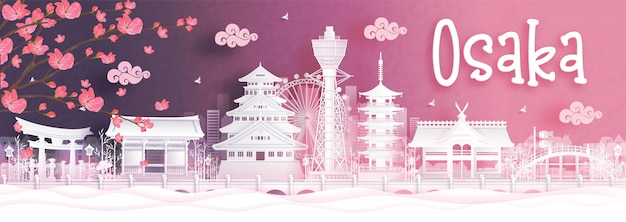Travel postcard of osaka in autumn season. japan Premium Vector
