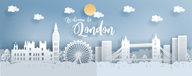 Travel postcard and poster with london Premium Vector