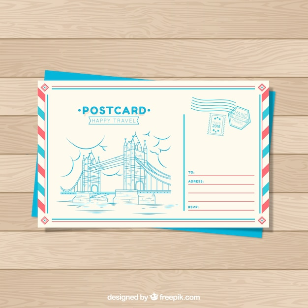 Travel Postcard Template In Hand Drawn Style Vector Free Download - Postcard template free download