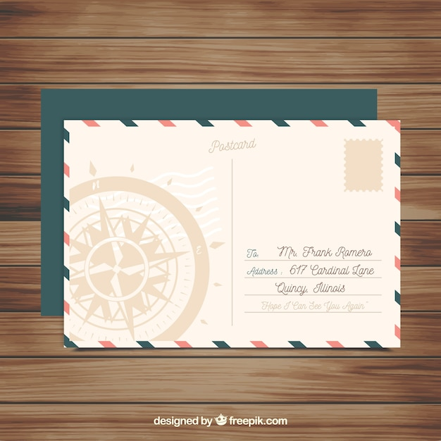 Travel postcard template in vintage style Free Vector