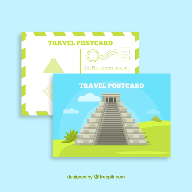 Travel postcard template with aztec pyramid Vector | Free Download