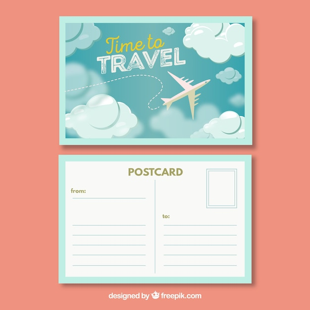travel postcard template with flat design vector free. Black Bedroom Furniture Sets. Home Design Ideas