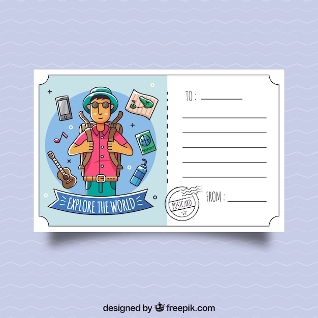 Travel postcard template with hand drawn character Free Vector