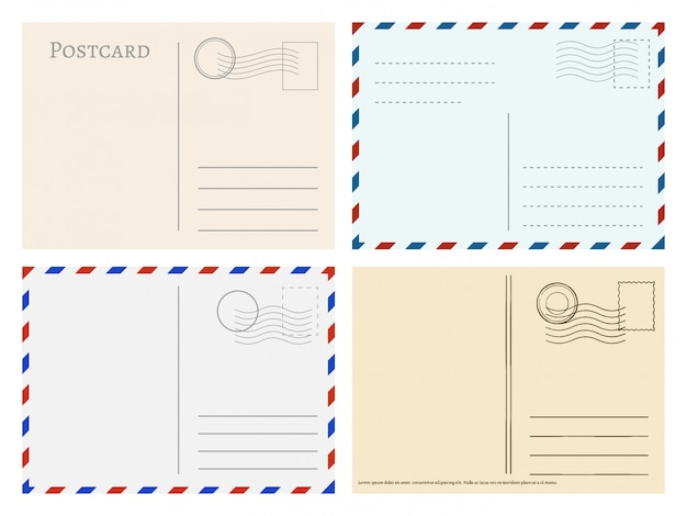 Travel postcard templates Premium Vector