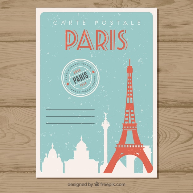 Travel postcard in vintage style Free Vector