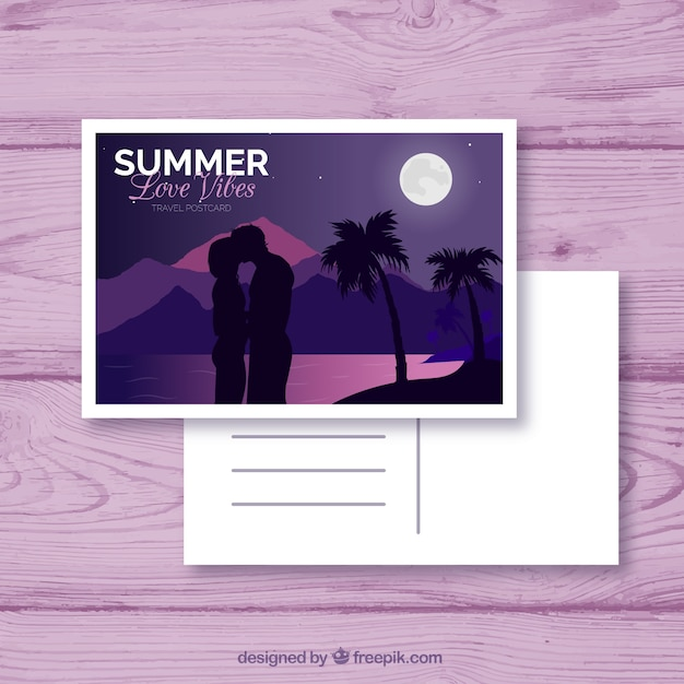 Travel postcard with couple and beach view Free Vector