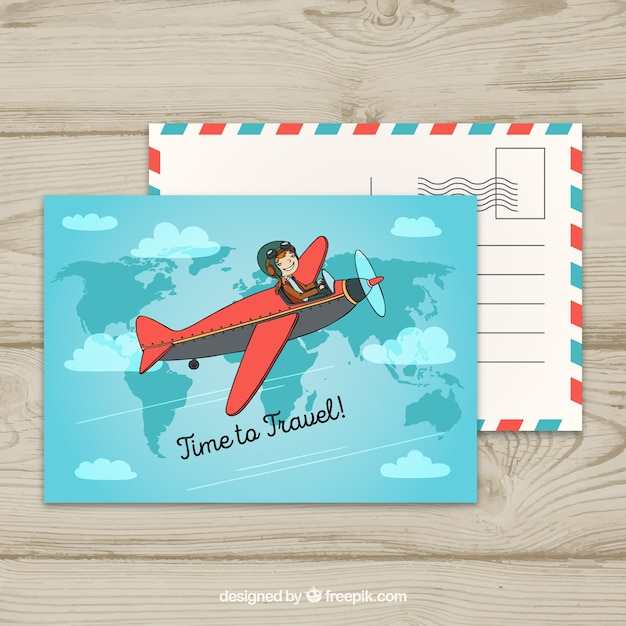Travel postcard with small plane flying Free Vector