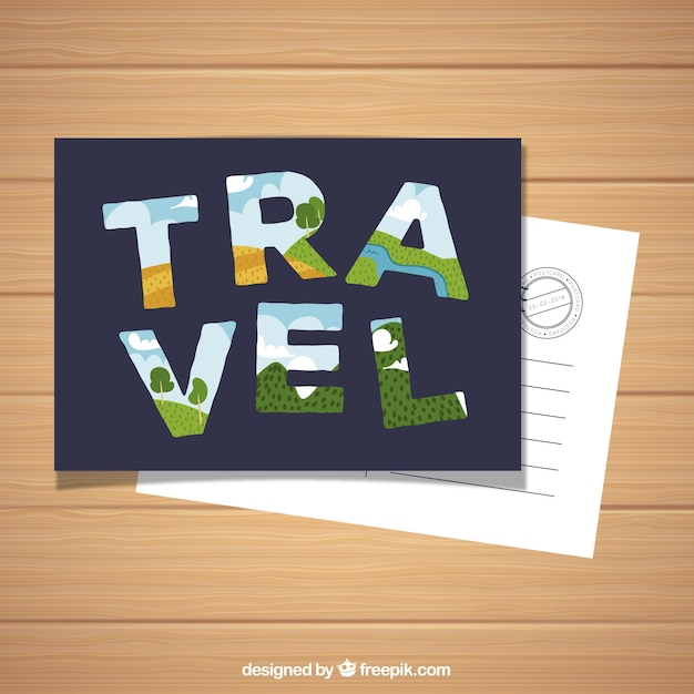 Pography Postcard | Travel Postcard With Typography In Flat Style Vector Free Download