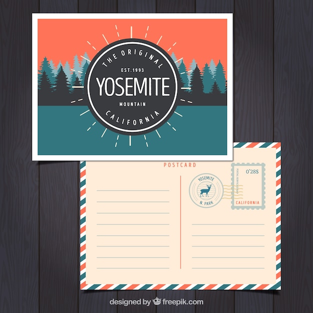 Travel postcard with yosemite landscape Free Vector