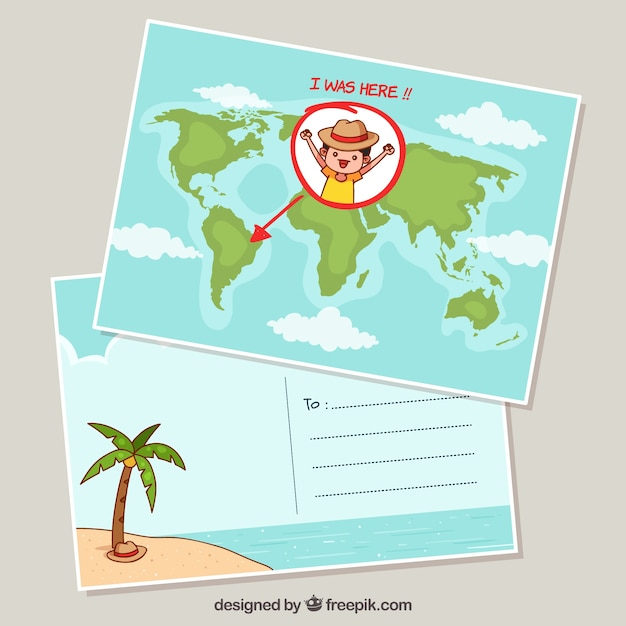 Travel postcard  Free Vector