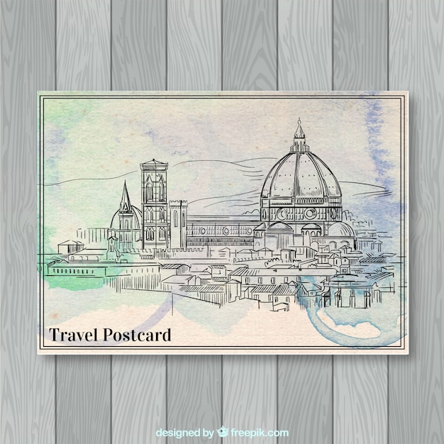Travel postcard  Free Vector