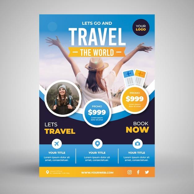 여행 포스터 컨셉 무료 벡터