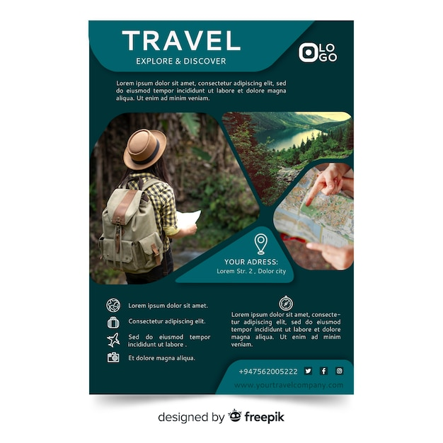 Travel poster/flyer template with photo Free Vector