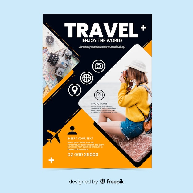 Travel poster/flyer with photo template Free Vector