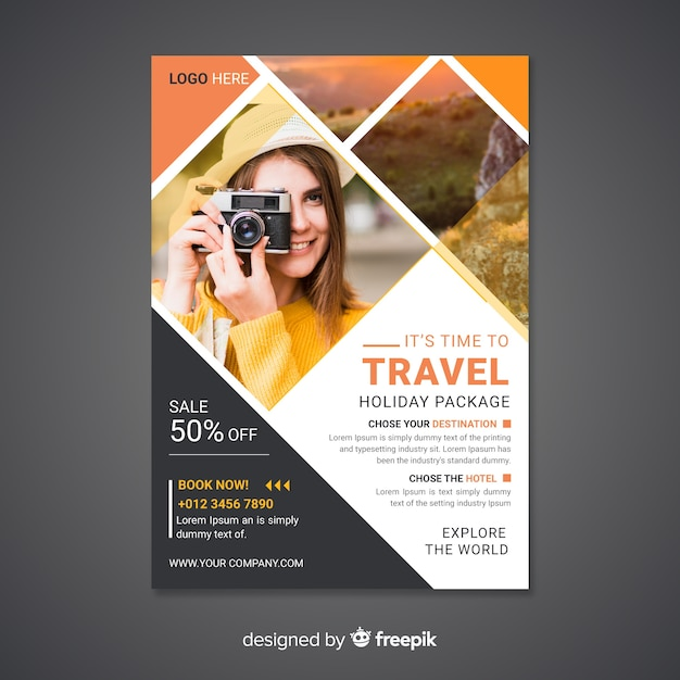 Travel poster/flyer with photo Free Vector