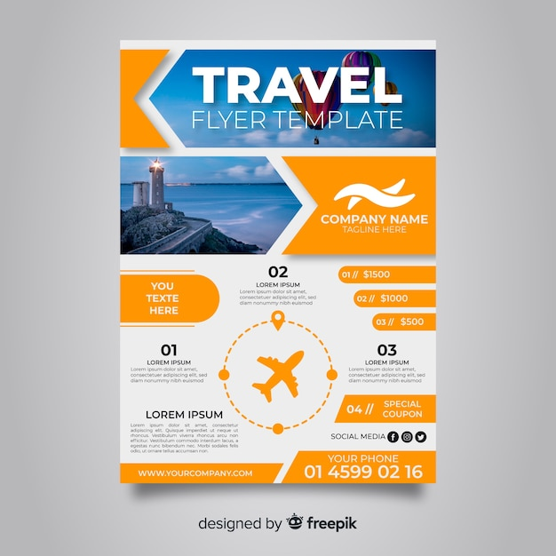 Travel poster template with balloons Free Vector