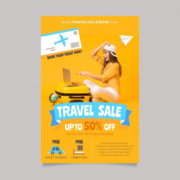Шаблон плаката путешествия с деталями и фото Бесплатные векторы