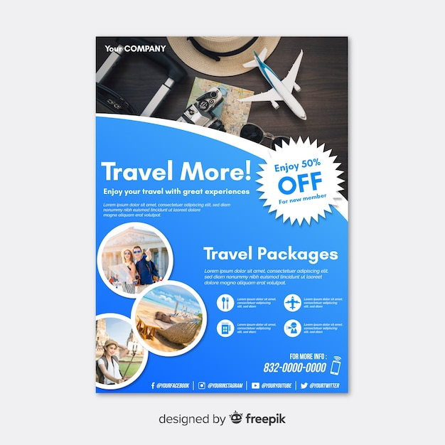 Travel poster template with discount Free Vector