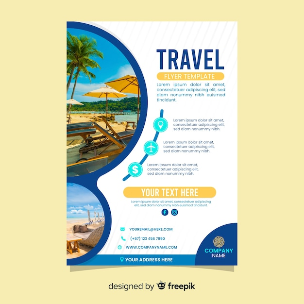 Travel poster template with photo Free Vector