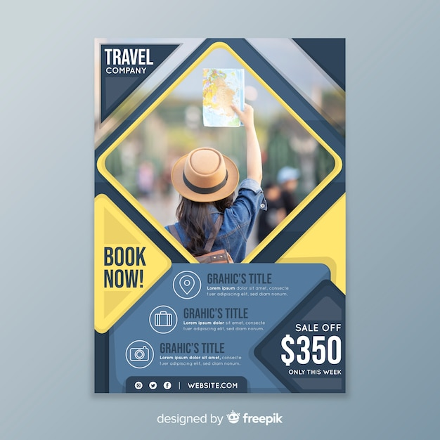Travel poster template with sale Free Vector