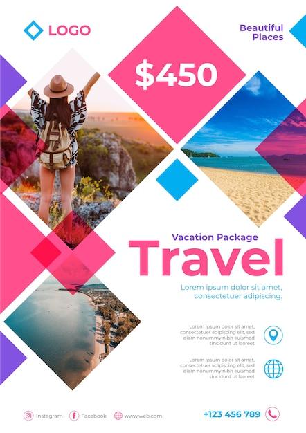 Туристический плакат с деталями и фото Premium векторы