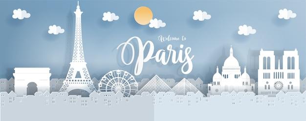 Travel poster with paris Premium Vector