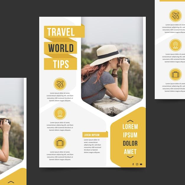 Туристический плакат с фотографией Premium векторы