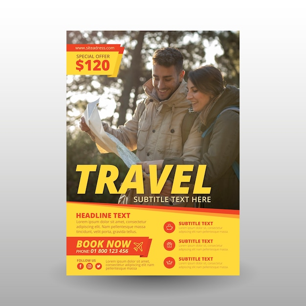 Travel poster with photo Free Vector