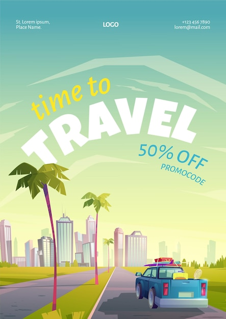 Travel poster with summer landscape, town and car with luggage on road Free Vector