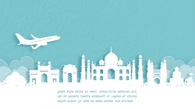 Travel poster with welcome to agra, india Premium Vector