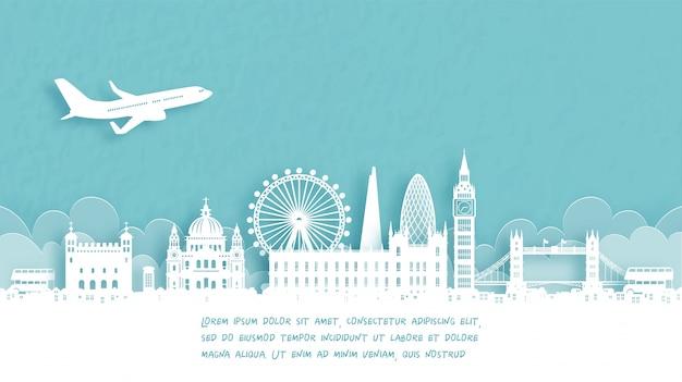Туристический плакат с добро пожаловать в лондон, англия Premium векторы
