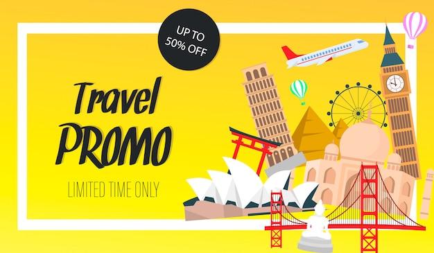 Travel promo website banner, flyer vector template Premium Vector