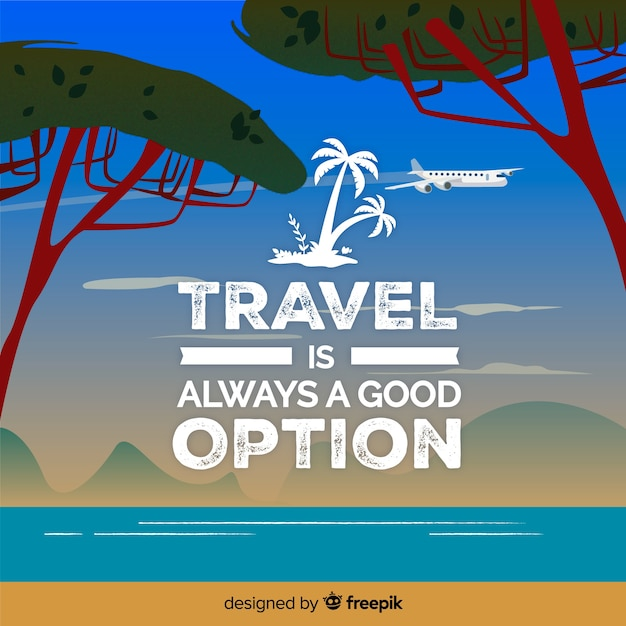 Travel quote lettering Free Vector