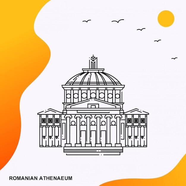 Travel romanian athenaeum poster template Premium Vector