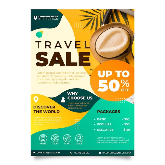 Travel sale flyer design with photo Premium Vector