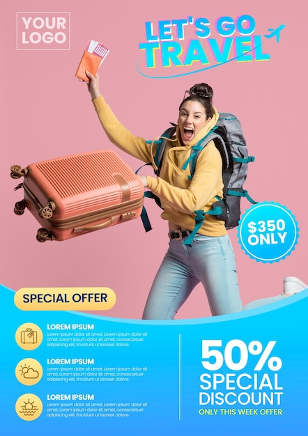 Travel sale flyer style with photo Premium Vector