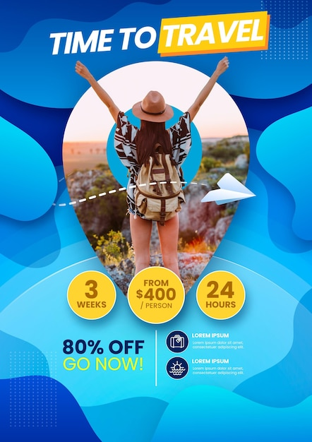 Travel sale flyer template Premium Vector