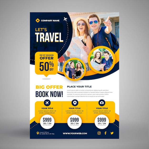 Travel sale flyer template Free Vector
