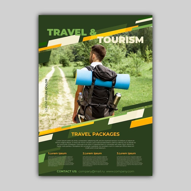 Travel sale flyer with photo template design Premium Vector