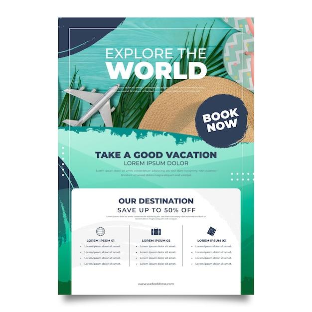 Travel sale flyer with photo Premium Vector