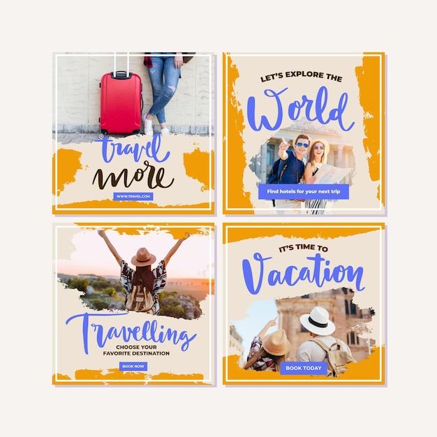 여행 판매 인스 타 그램 포스트 컬렉션 무료 벡터