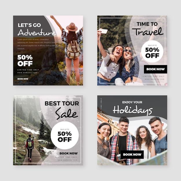 여행 판매 인스 타 그램 포스트 컬렉션 프리미엄 벡터